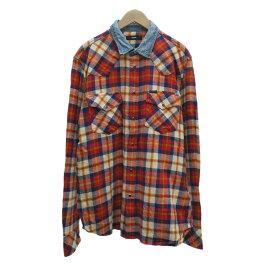 【中古】DIESEL チェックシャツ レッド×ネイビー サイズ:L 【121119】(ディーゼル)