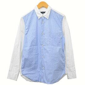 【中古】COMME des GARCONS HOMME 2019AW 切替え ストライプシャツ シャツ ブルー×ホワイト サイズ:XS 【111119】(コムデギャルソンオム)