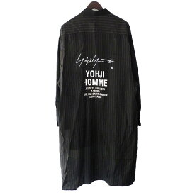 【中古】YOHJI YAMAMOTO pour homme 「Striped Cupro Staff Shirt」ストライプキュプラスタッフシャツ ブラック サイズ:3 【131119】(ヨウジヤマモトプールオム)