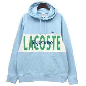 【中古】Supreme×Lacoste 2019AW Logo Panel Hooded Sweatshirt パーカー ライトブルー サイズ:L 【121119】(シュプリーム×ラコステ)