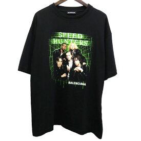 【中古】BALENCIAGA 19SS スピードハンターズプリントオーバーサイズTシャツ 556133 ブラック サイズ:S 【131119】(バレンシアガ)