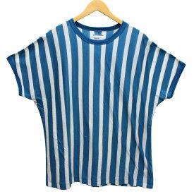 【12月12日 お値段見直しました】【中古】shareef2018SS ストライプ ビッグTシャツ アクアブルー、ホワイト サイズ:2(M)