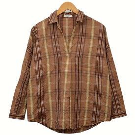 【2月3日 お値段見直しました】【中古】Adam et Ropeプルオーバー チェックシャツ シャツ ブラウン サイズ:Free