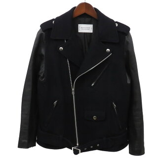 beautiful people X UNITED ARROWS sleeve leather melton double riders jacket navy X black size: 160 (beautiful people X UNITED ARROWS)
