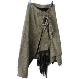 【中古】sacai チェックラップスカート ベージュ サイズ:0 【191219】(サカイ)