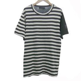 【中古】REGULATION Yohji Yamamoto ボーダー切替Tシャツ レーヨン混 ブラック×ホワイト サイズ:1 【190120】(レギュレーション ヨウジヤマモト)
