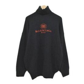 【中古】BALENCIAGA 18AW BBロゴ刺繍エンブロイダリータートルネックニットセーター ブラック サイズ:36 【270120】(バレンシアガ)