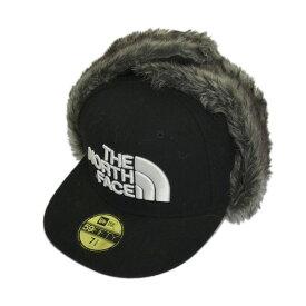 【中古】THE NORTH FACE×NEW ERA 「TNF NEWERA TRAPPER CAP」ロゴ刺繍フライトキャップ ブラック サイズ:M(7 3/8) 【300120】(ザノースフェイス×ニューエラ)