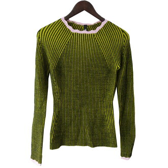 ADAM SELMAN rib knit sweater yellow X pink size: S (Adam cell man)