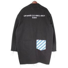 【中古】OFF WHITE16AW バックプリント カットオフワークチェスターコート ブラック サイズ:XS 【1月18日見直し】