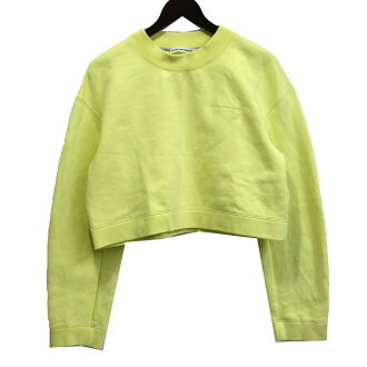 "ALEXANDER WANG ""Heavy French Cropped Pullover"" chest logo embroidery cropped sweat shirt lime size: S (Alexander one)"