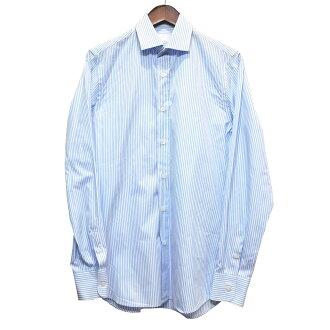 PRADA stripe shirt white X blue size: 37 14 1/2 (Prada)