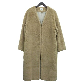 """6(BEAUTY & YOUTH UNITED ARROWS)  """"V-NECK FAKE FUR COAT"""" fake fur coat beige size: 38 (Roch (beauty and use UNITED ARROWS))"""