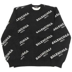 【中古】BALENCIAGA 2017AW ジャガードロゴ ニット セーター ブラック×ホワイト サイズ:M 【200220】(バレンシアガ)