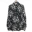 【中古】SAINT LAURENT PARIS14AW スクエアプリントシルクシャツ ブラック×ホワイト サイズ:37 【3月30日見直し】