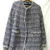 Theory tweed no-collar coat navy X white X pink size: P (theory)
