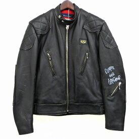 【中古】Lewis Leathers×COMME des GARCONS「PHANTOM」レザーシングルライダースジャケット ブラック サイズ:38 【11月20日見直し】