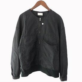 【中古】BED J.W. FORD18AW ハーフZIPノーカラージャケット ブラック サイズ:1 【6月1日見直し】