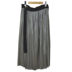 【中古】BeautifulPeople 18SS metalic jersey pleats wrap skirt プリーツラップスカート グレー サイズ:36 【130420】(ビューティフルピープル)