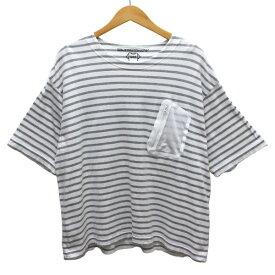 【中古】MR.EVERYDAYS ボーダー ビッグ Tシャツ ホワイト、グレー サイズ:BIG 【250420】(ミスターエブリデイズ)