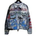 【中古】BALENCIAGA 18AW Graffiti Paint Denim Jacket グラフティペイントデニムジャケット インディゴ サイズ:40 …