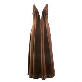【中古】LE CIEL BLEUContrast Stitch Plunge Neck Dress ブラウン サイズ:38 【6月1日見直し】