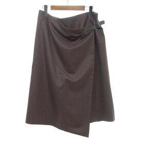 【中古】HERMES ヴァージンウール100%ラップスカート ブラウン サイズ:42 【220520】(エルメス)