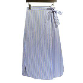 【中古】MACPHEEストライプ 巻き スカート ブルー×オレンジ サイズ:36 【6月1日見直し】