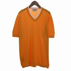 【中古】HERMES Vネックコットン100%半袖ニット オレンジ サイズ:M 【300520】(エルメス)