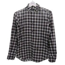 【中古】DSQUARED2 ワイヤー入チェックシャツ ブラウン サイズ:42 【020820】(ディースクエアード)