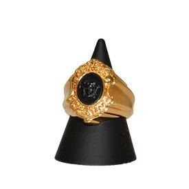 【中古】VERSACE ロゴリング 指輪 ゴールド 【080820】(ヴェルサーチ)