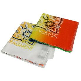 【中古】LOUIS VUITTON×FRAGMENT DESIGNバンダナスカーフ2枚セット ホワイト×マルチカラー 【10月27日見直し】