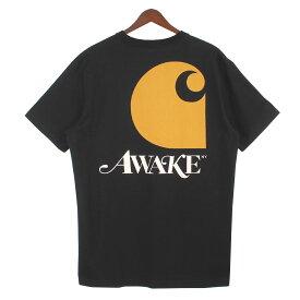 【中古】AWAKE×CARHARTT WIP 20SS AWAKE NY S/S T-SHIRT ロゴ胸ポケットTシャツ ブラック サイズ:M 【020920】(アウェイク×カーハート)