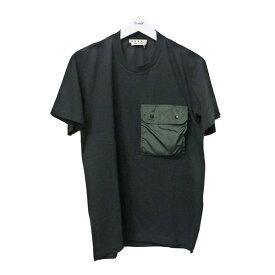 【中古】MARNI 2020SS ナイロンポケットTシャツ パッカブル胸ポケットTシャツ ブラック×グリーン サイズ:46 【260920】(マルニ)