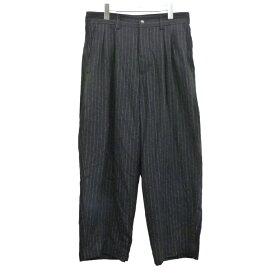 【中古】VICTIM 19AW「WIDE STRIPE PANTS」ワイドストライプパンツ ブラック サイズ:L 【121020】(ヴィクティム)