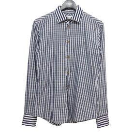 【中古】Vivienne Westwood MAN 17AW チェック×ストライプシャツ ネイビー×ホワイト サイズ:46 【191020】(ヴィヴィアンウエストウッドマン)