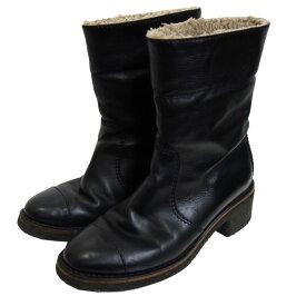 【中古】CHANEL バックココマーク裏ボアブーツ ブラック サイズ:39(25.5cm) 【291020】(シャネル)