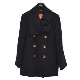 【中古】Vivienne Westwood RED LABEL オーブボタン ダブル コート ブラック サイズ:2 【211120】(ヴィヴィアンウエストウッドレッドレーベル)