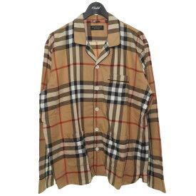 【中古】BURBERRYチェックパジャマシャツ ブラウン サイズ:XL 【3月22日見直し】