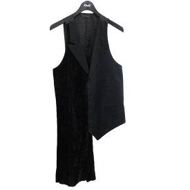 【中古】YOHJI YAMAMOTO pour homme ベルベット切替レイヤードベスト ブラック サイズ:2 【141220】(ヨウジヤマモトプールオム)