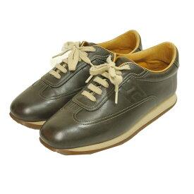 【中古】HERMESクイック レザー スニーカー 靴 ブラウン サイズ:42 【4月19日見直し】