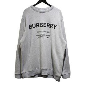 【中古】BURBERRY ホースフェリー プリント コットンスウェットシャツ ロゴ クルーネックトレーナー グレー サイズ:XL 【160221】(バーバリー)