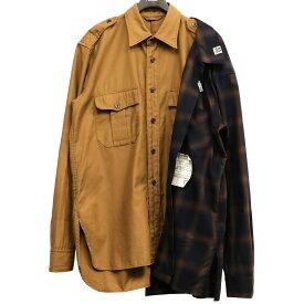 【中古】MIHARA YASUHIRO 20AW レフトドッキングオーバーサイズシャツ ブラウン×ネイビー サイズ:44 【270221】(ミハラヤスヒロ)