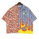 【中古】PRADA 18AW コンビネーションシャツ マルチカラー サイズ:XL 【030421】(プラダ)