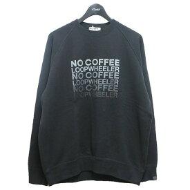 【中古】NO COFFEE × LOOPWHEELER 5周年記念コラボスウェット ブラック サイズ:M 【090421】(ノーコーヒー ループウィラー)
