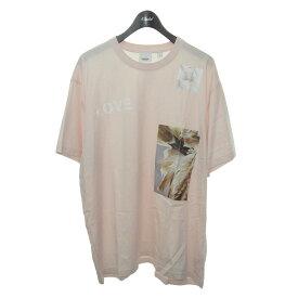 【中古】BURBERRY 2020AW LOVEプリントTシャツ ピンク サイズ:XL 【290421】(バーバリー)