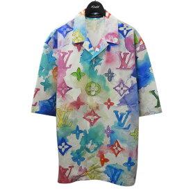 【中古】LOUIS VUITTON2021SS マルチカラーウォーターカラーシャツ マルチカラー サイズ:L 【8月2日見直し】