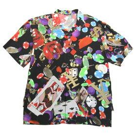 【中古】BALENCIAGA Oversize Casino Print Vacation Shirt 半袖オープンカラーシャツ マルチカラー サイズ:38 【150721】(バレンシアガ)