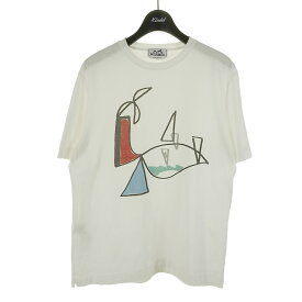 【中古】HERMES プリントTシャツ ホワイト サイズ:XS 【190721】(エルメス)