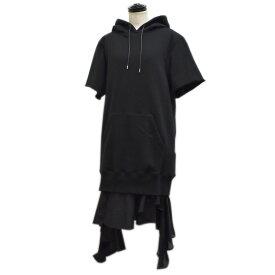 【中古】sacai フーデッドレイヤードワンピース ブラック サイズ:3 【240821】(サカイ)